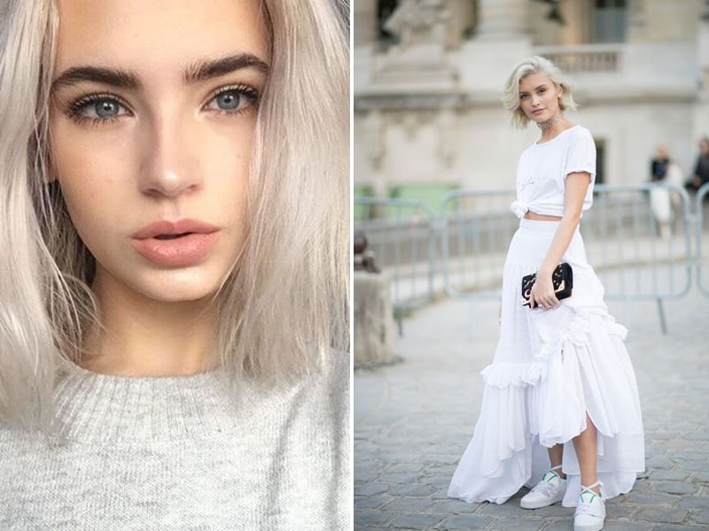 neutral eye makeup with white dress