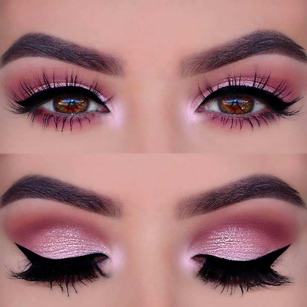 pink eyemakeup with winged liner