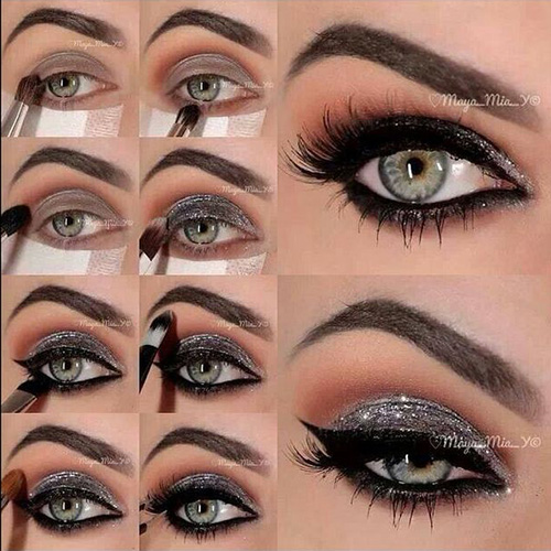 step by step makeup for grey eyes