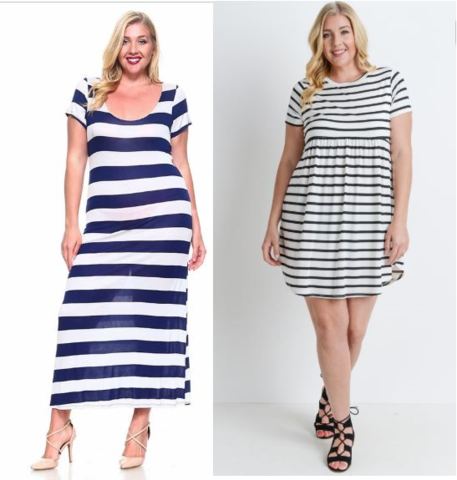 dresses with horizontal and vertical stripes for broad shoulders