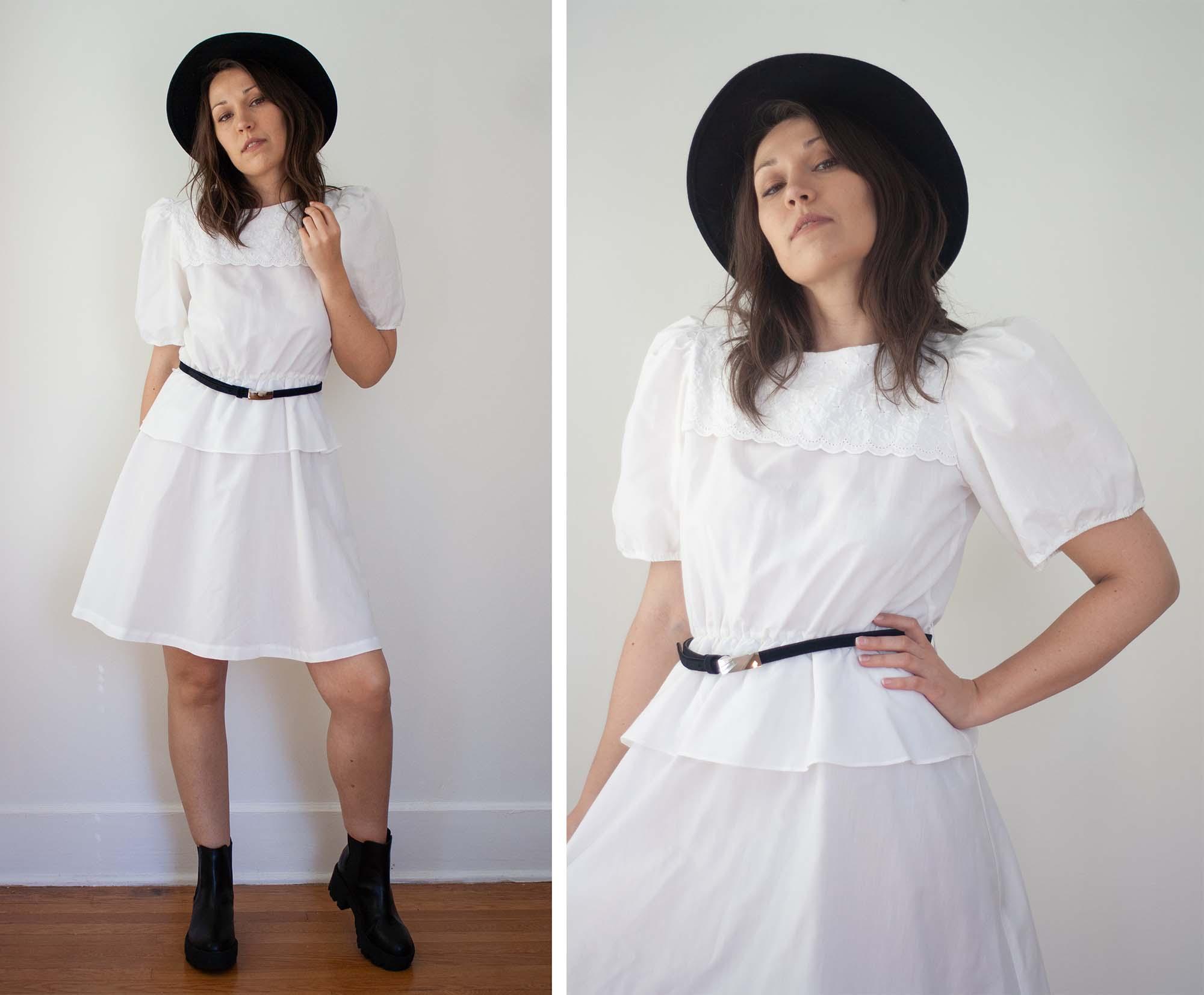 vintage 80s white puff sleeve eyelet lace collar dress – LuAnne Vintage