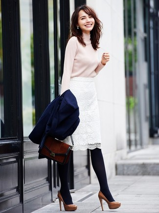 White Lace Skirt Outfits: A navy coat and a white lace skirt are indispensable sartorial weapons in any modern lady's sartorial arsenal. Add a fresh twist to an otherwise mostly dressed-down ensemble by rocking a pair of brown leather pumps.