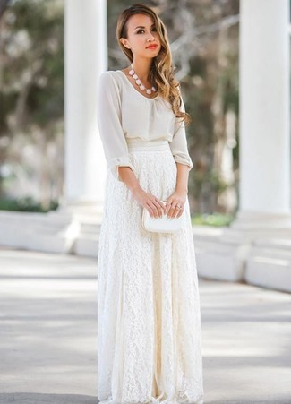 White Lace Skirt Outfits: A white chiffon long sleeve blouse and a white lace skirt married together are an ultra covetable ensemble for fashionistas who love cool chic getups.